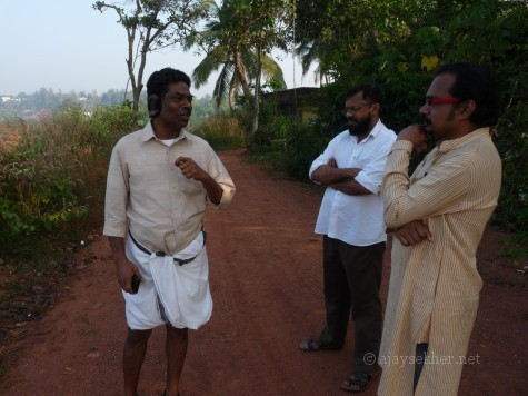 Prof M Dasan, Dr P K Sasidharan and Mr Anirudh Raman on Ponnamkod hill, Calicut.  Pon is a clear Sramana place marker.