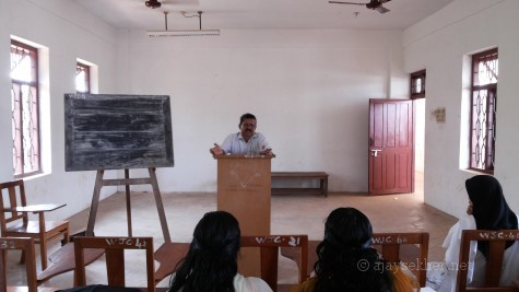 P N Prakash teaching M A English students at S S University Tirur centre in late March 2014