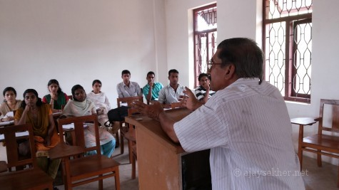 Teaching as an organic expression of freedom and compassion: Prof P N Prakash addressing M A English students at SSUS Tirur regional centre.