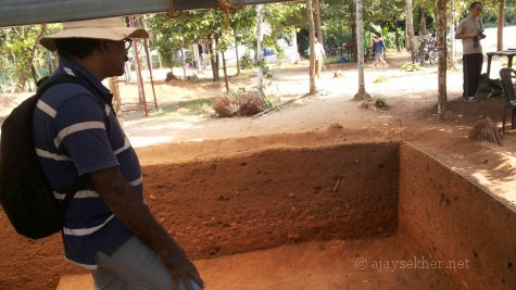 Prof P J Cherian by the new trench at Pattanam archeological site on 19 Apl 2014.