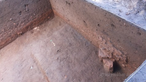 Brick construction of 4th century AD unearthed at Pattanam showing clear evidences of civilizational material culture.