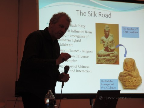 Prof Chris Gosden of Oxford University talking about the Global Connections of Pattanam at Kochi, early April 2014.