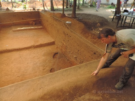 Prof Wendy Morrison explaining the detailed plan of excavating a new archeological trench at Pattanam, 19 Apl 2014.