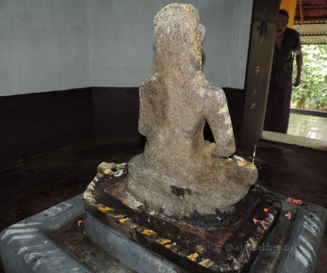 Buddha at Topil in Onampally or Onampilly near Kalady.  Iconographically similar to Buddha idols recovered at Mavelikara, Karumady, Kayamkulam, Kottapuram and Pattanam.  Mr Padma Prabha whose Topil house shrine houses it is also seen. 16. 8. 2014 by Ajay Sekher