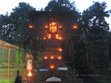 Madatil Appan shrine at Uliyanur.  Only a few elevated sanctums of Madatil Appan pagodas in Kerala.  Swayam Bhu Ganapati is facing south. The Linga was installed by Parasurama as per legends.