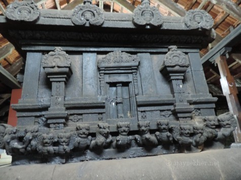 Alter or Balikallu at Uliyanur Siva temple. Lion and Elephant motifs along with Dragon faces and facades are reminiscent of Buddhist architecture in Kerala.