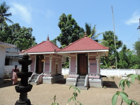 Pagodas in which Perum Tachan (right) and Bhuvaneswari Devi are enshrined at Uliyanur Perum Padanna household.