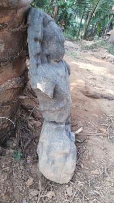 Boddhisatva idol recovered from Pukulam temple pond at Ponjasery near Aluva. Broken into two and probably disposed in the ancient Chira or tank with perennial spring.