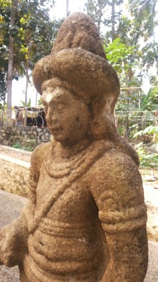 Boddhisatva idol at Vayalvaram, Chempazhanti. Recovered and installed by John Dharma Teerthar some 75 years ago. Mark the minimalist Utariya over the left shoulder.