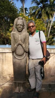 Vajrayana idol at Kayikara Asan Memorial. Locally called Tozhuvan. A Siddha/Upasaka figure in Vajrayana in Kerala. Jan 2015