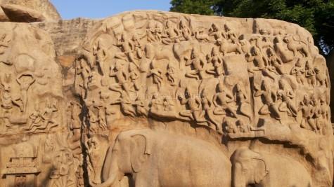 These Mamallapuram elephant images and the Kinnara/Yaksha images are remarkably similar to the Ajanta, Amaravati and Kalinga Buddhist iconography