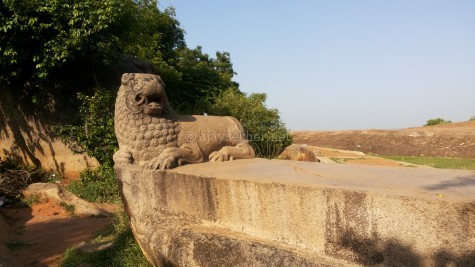 The lion seat or Simhasana at Mamallapuram. The Simhasana was a typical Teravada tradition of worship like the Bo tree