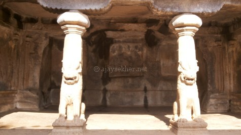 Lion pillars in the rock cut temple at Mamallapuram. Lion and elephants motifs were key icons in Buddhist architecture.