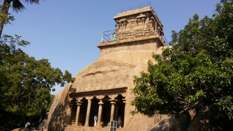 The rock cut temples in Mamallapuram are exactly like a Stupa with the top structure and the front pillars and the egg like overall shape.