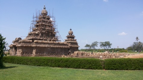 The shore temple at Mamallapuram. Also called the shore pagoda by western sailors as it closely resembles the Buddhist pagoda style of architecture.