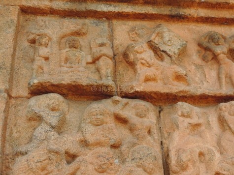 Another panel relief featuring the Buddha under the Bo tree on the western side of the inner or second eastern tower or Gopura in Big temple Tanjavur.