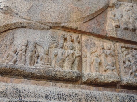 Panel reliefs depicting the Buddha under the Bodhi tree in Big temple, Tanjavur also called Brihadiswara temple built in early 11th century AD by Rajaraja Chola. This one on the eastern side of the southern exit from sanctum.