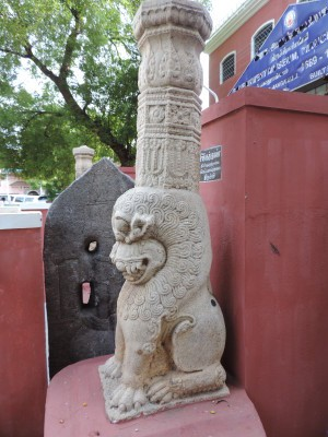 A lion pillar at Tiruchirapally Govt Museum, recovered along with the Buddha 1. Dhamma Simhas or lions were key motifs in Buddha Pallys or Viharas