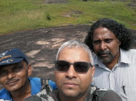 The author Ajay Sekher with Saifudeen and Krishnakumar at Tolanur in Palakad
