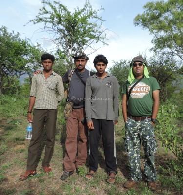 Vishnu Chinnar, Vishnu Kartha, Al Ameen and Ajay Sekher the author at Chinnar, early Sept 2015