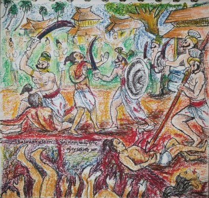 Dalava Kulam Massacre. Miniature by Ajay Sekher in Mixed Media on Paper 2015. 15*15cm