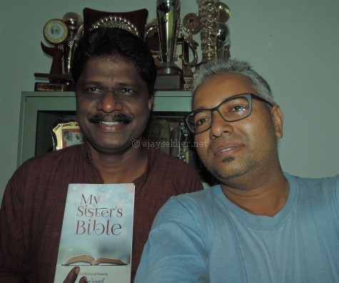 S Joseph and Ajay Sekher with his new English anthology My Sister's Bible (New Delhi: Author Press, 2016).
